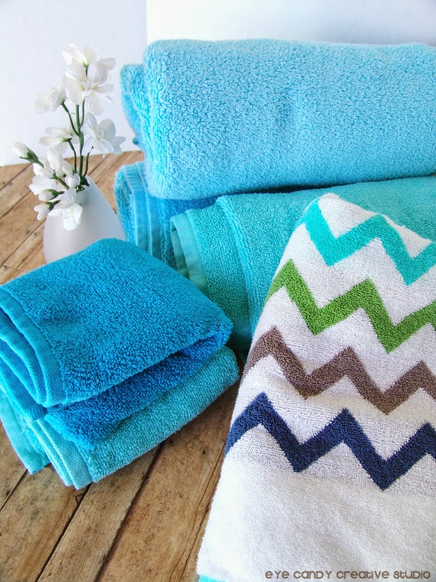 amazing towels, chevron towels, flowers, softsoap, bathroom makeover ideas