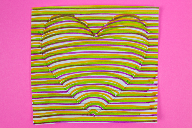 3d Optical Illusion Heart Drawing Craft Pink Stripey Socks