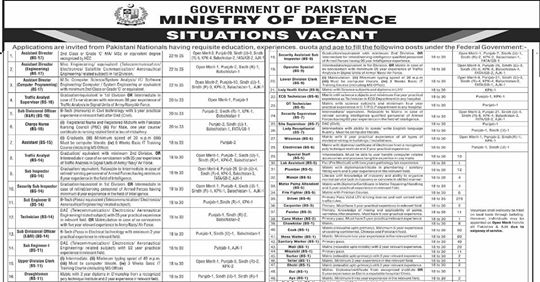 Ministry of Defence Jobs 2020 in Pakistan