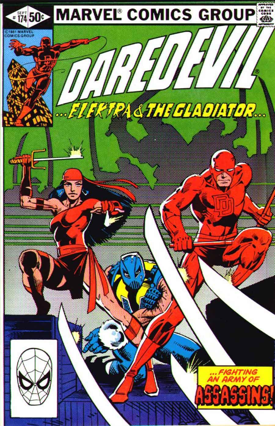 Daredevil v1 #174 elektra marvel comic book cover art by Frank Miller