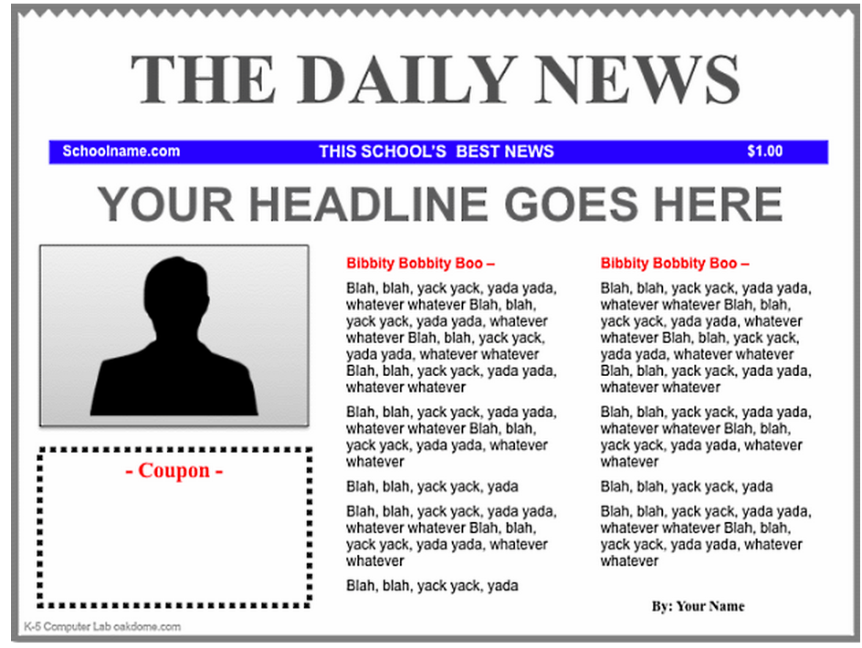 how to write a newspaper front page article layout