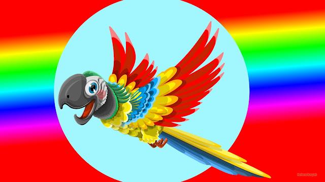 Rode wallpaper met regenboog en rode papegaai.