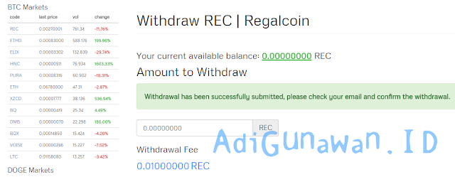 Cara withdraw rec di coinexchange