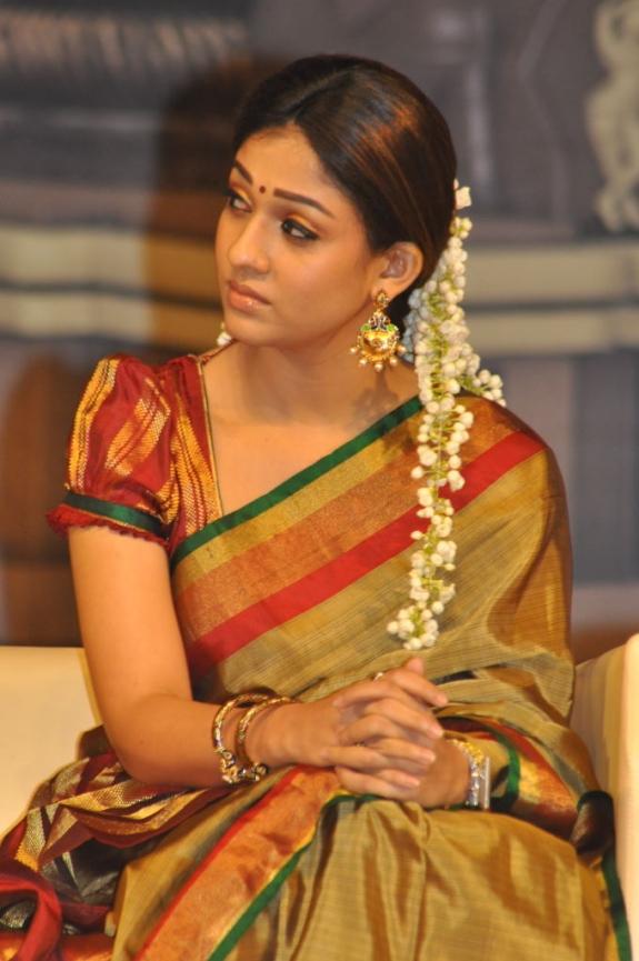 Nayanthara wearing silk saree with puffed sleeves