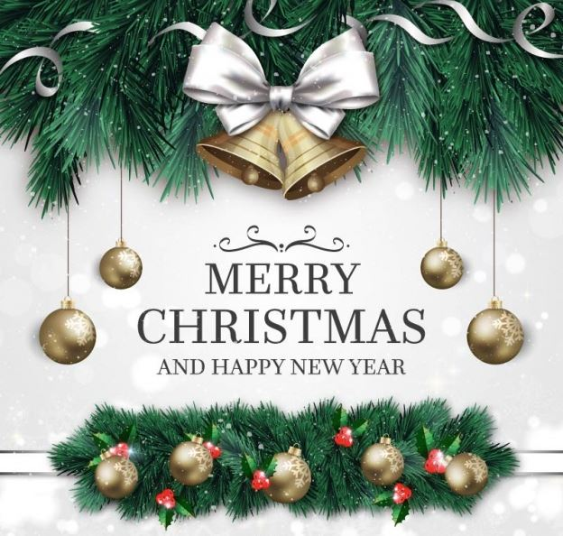 Merry Christmas and Happy New Year Background Ornaments Jingle Bells Images Pictures