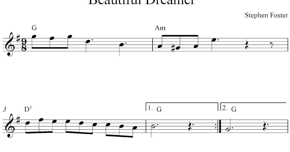 Free flute sheet music, Beautiful Dreamer
