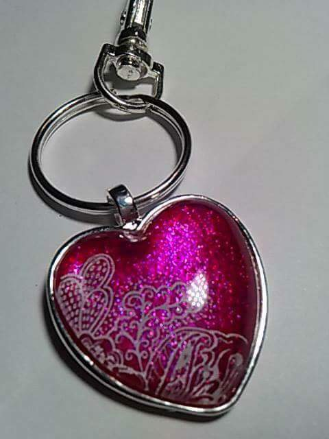 The Holo Pineapple Heart Breaker Trio key chain