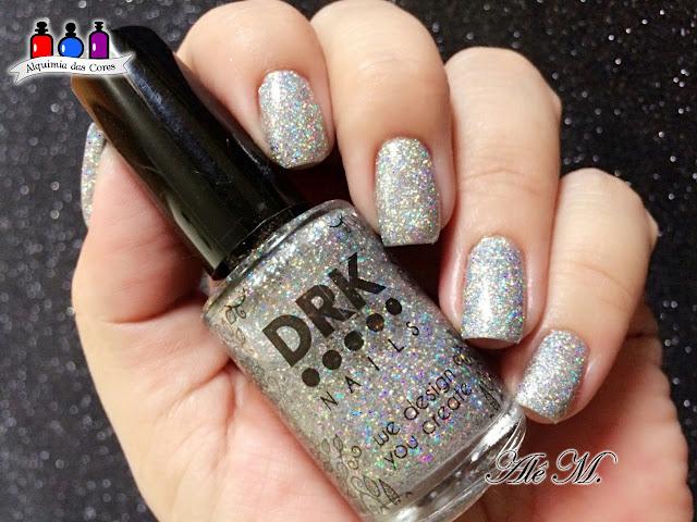 DRK Nails, 100 palavras, Glitter Holográfico, DRK XL Designer 1, Extra Black, Carimbada, Alê M.