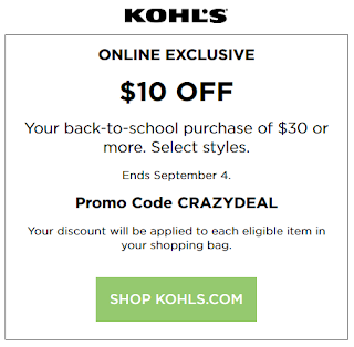Kohls coupon $10 off $30 Back To School order