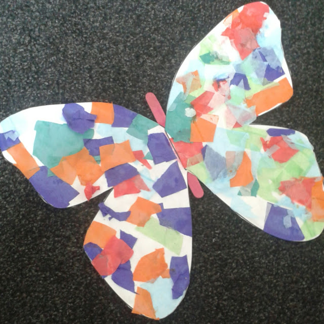 Tissue paper butterfly collage, kids crafts