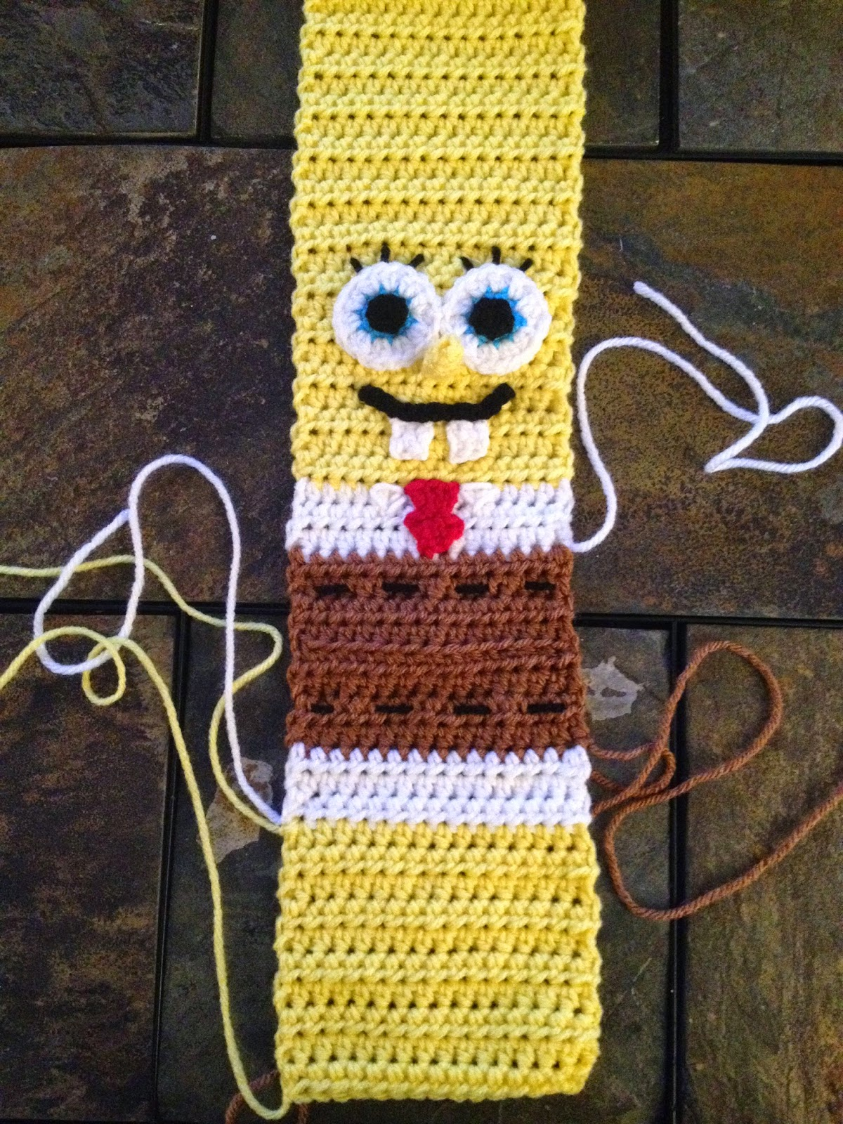 By Jenni Designs: Free Crochet Pattern: Spongebob Squarepants Inspired Scarf