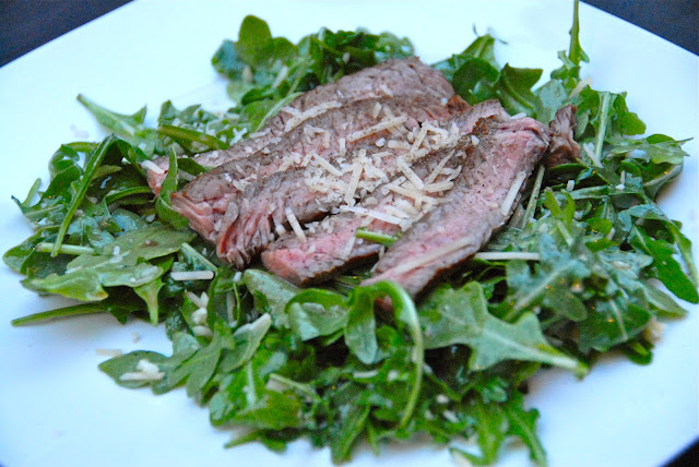 seared ny striip steak arugula salad