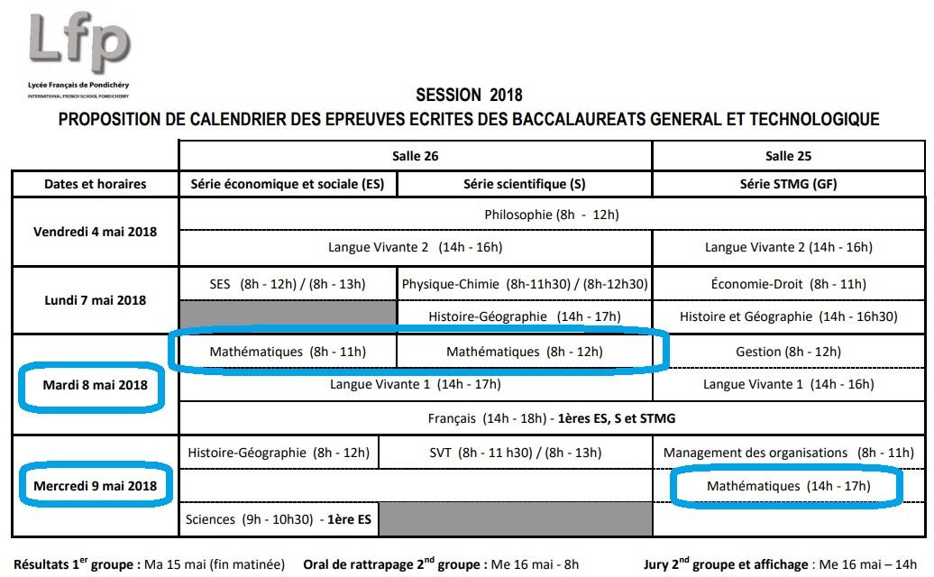 Calendrier Epreuve Bac 2019.Raiatea Bac Calendrier Bac 2018 Pondichery Liban