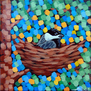 nesting 'dee painting by artist aaron kloss, chickadee painting, chickadee nest, pointillism painting, aaron kloss, duluth mn, duluth artist, duluth painter, minnesota landscape painting