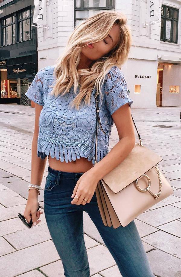 blue lace details: trending outfit ideas