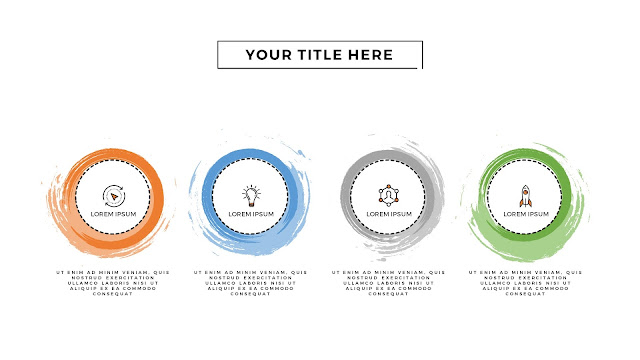 Infographic 4 Circular Brush Style Banners in PowerPoint Presentation