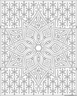 Snowflake knotwork to print and color- available in jpg and transparent png