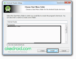 Choose Start Menu Folder Android Studio