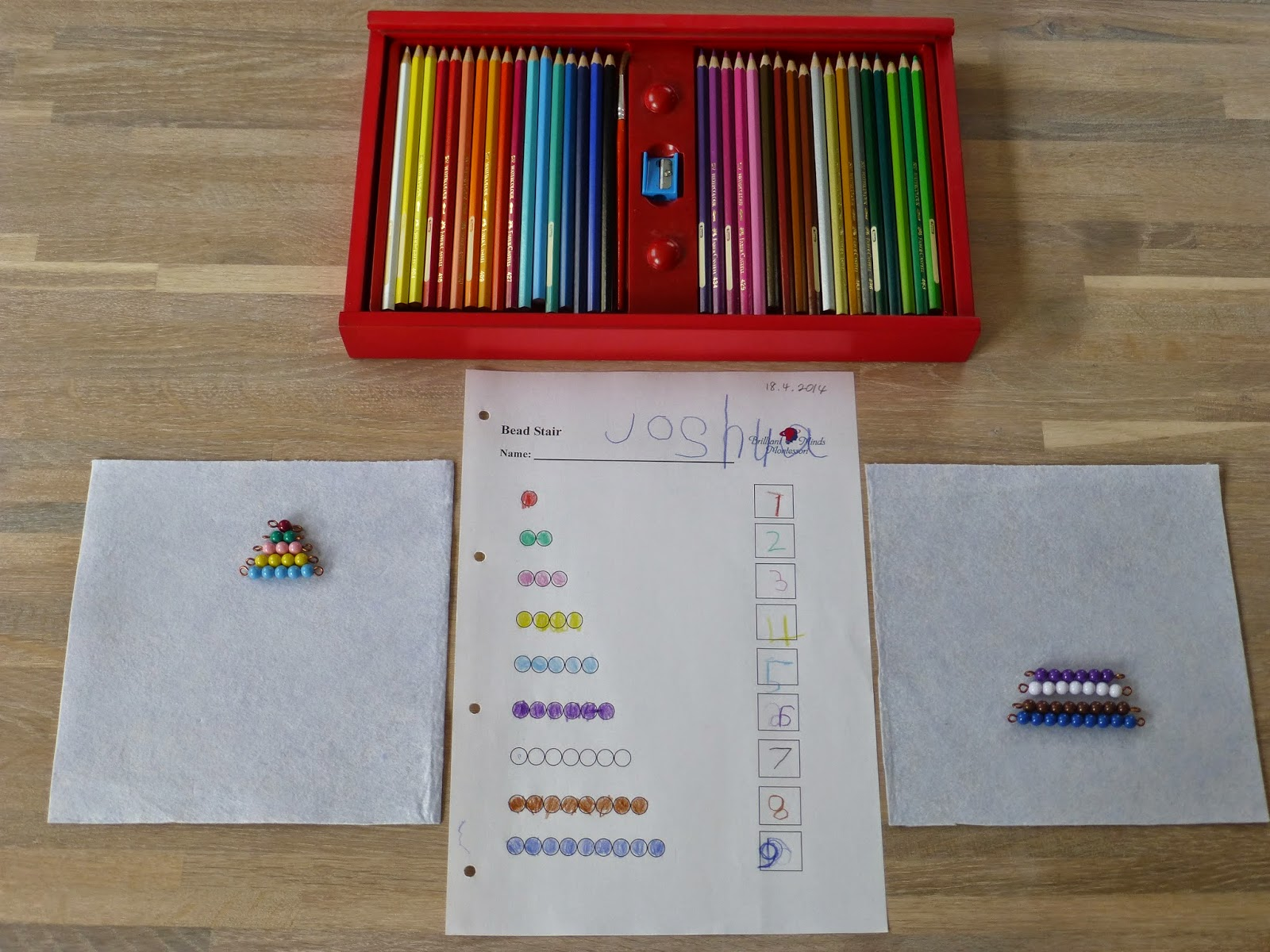 Family Fecs Montessori Activity The Colored Short Bead Stair