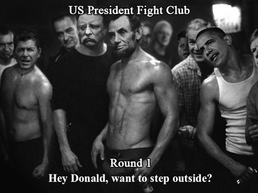 US president fight Club Round one. Calling out Donald Trump. US President Fight Club and Other stories of Past Leaders Responding to Now. marchmatron.com