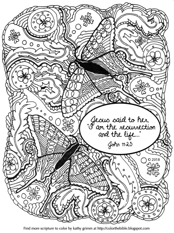 """""""I am the resurrection and the life..."""" coloring page for ..."""