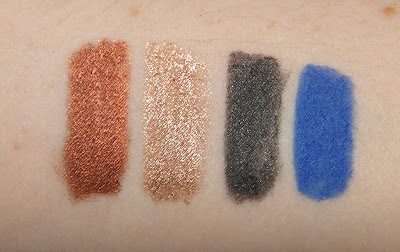 Rimmel Magnif'Eyes Cream Eyeshadow Liner Duo Queens of the Bronzed Age Dark Side of the Blue Swatches Blue Cobalt Bronze Gold Grey