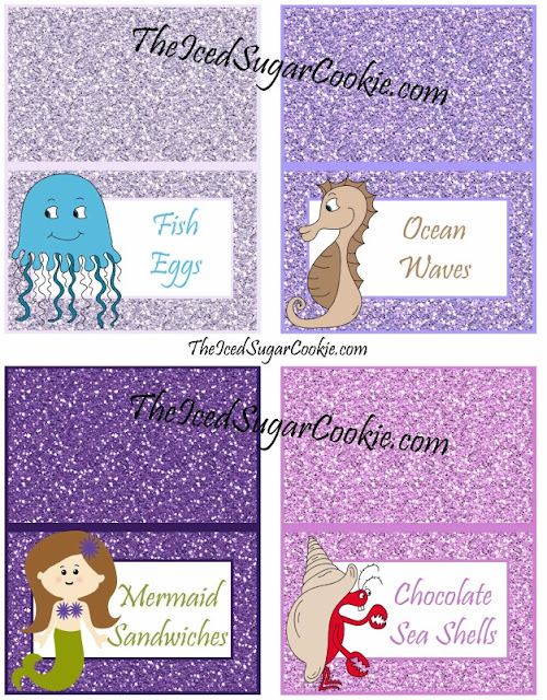 Fish Eggs, Ocean Waves, Mermaids Sandwiches, Chocolate Sea Shells, DIY Glitter Mermaid Food Label Tent Cards Birthday Party-Printable Template digital download Jellyfish seahorses mermaids crabs