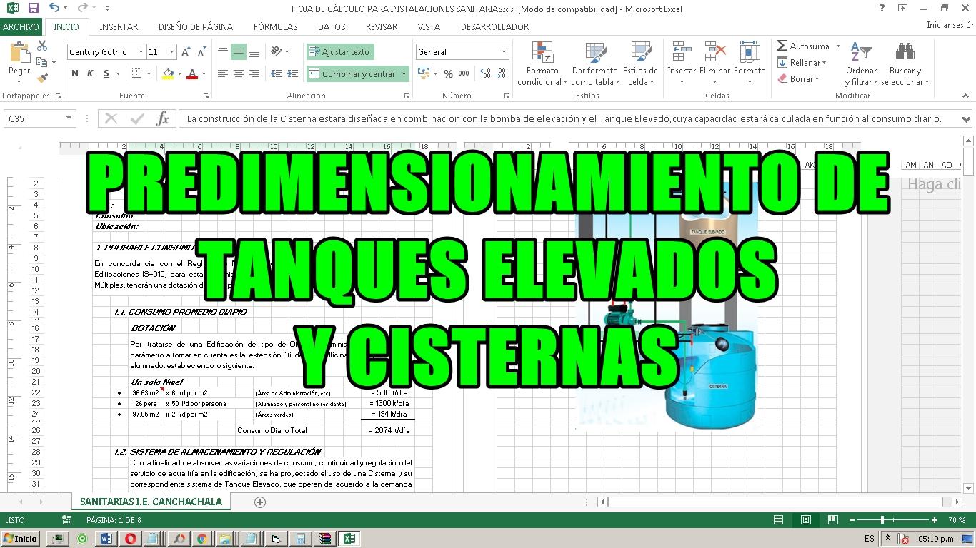 PREDIMENSIONAMIENTO DE TANQUES ELEVADOS Y CISTERNAS (POR CAPACIDAD ...