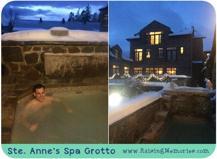Sainte Annes Spa Fieldstone Grotto hot tub in Winter