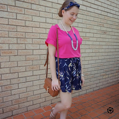 awayfromblue Instagram | pink frill sleeve tee navy printed culottes and hair scarf with mab camera bag gold sandals