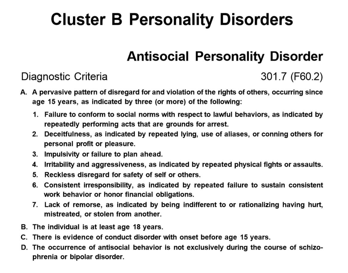 Antisocial Personality Disorder Mnemonic