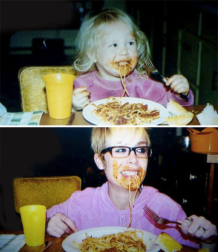 30 Beautiful Recreations Of Childhood Pictures - Loving Pasta Then And Now