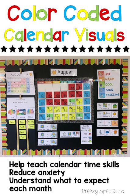 Color code your classroom calendar to help your students understand what to expect for the month, reduce anxiety, and teach time skills! #specialeducation