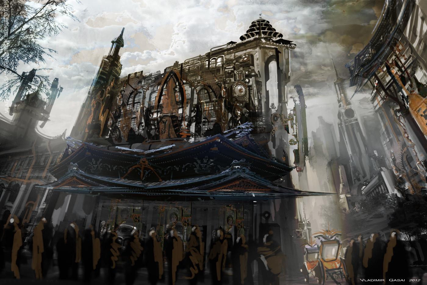 Steampunk Revue: Lantern City Concept Art  |Victorian Steampunk Concept Art