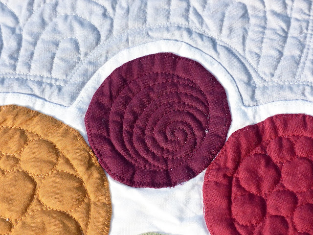 Close up view an asymmetrical swirl quilting motif