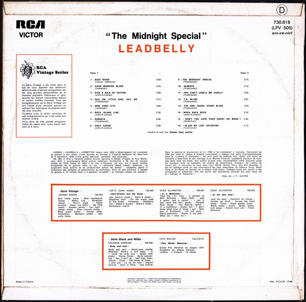 Leadbelly - Rock Island Line / Eagle Rock Rag