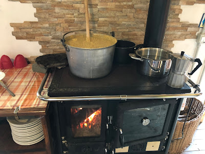 Polenta cooking at Rifugio Branchino.