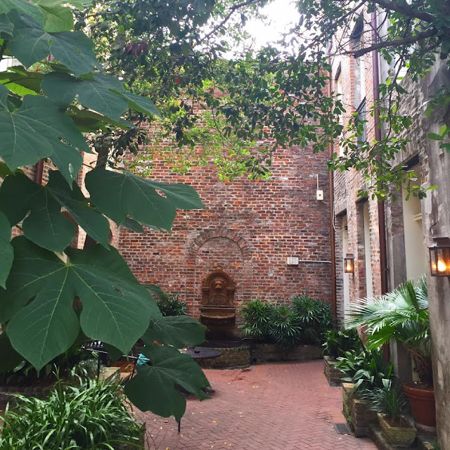 Brick courtyard in New Orleans with fountain