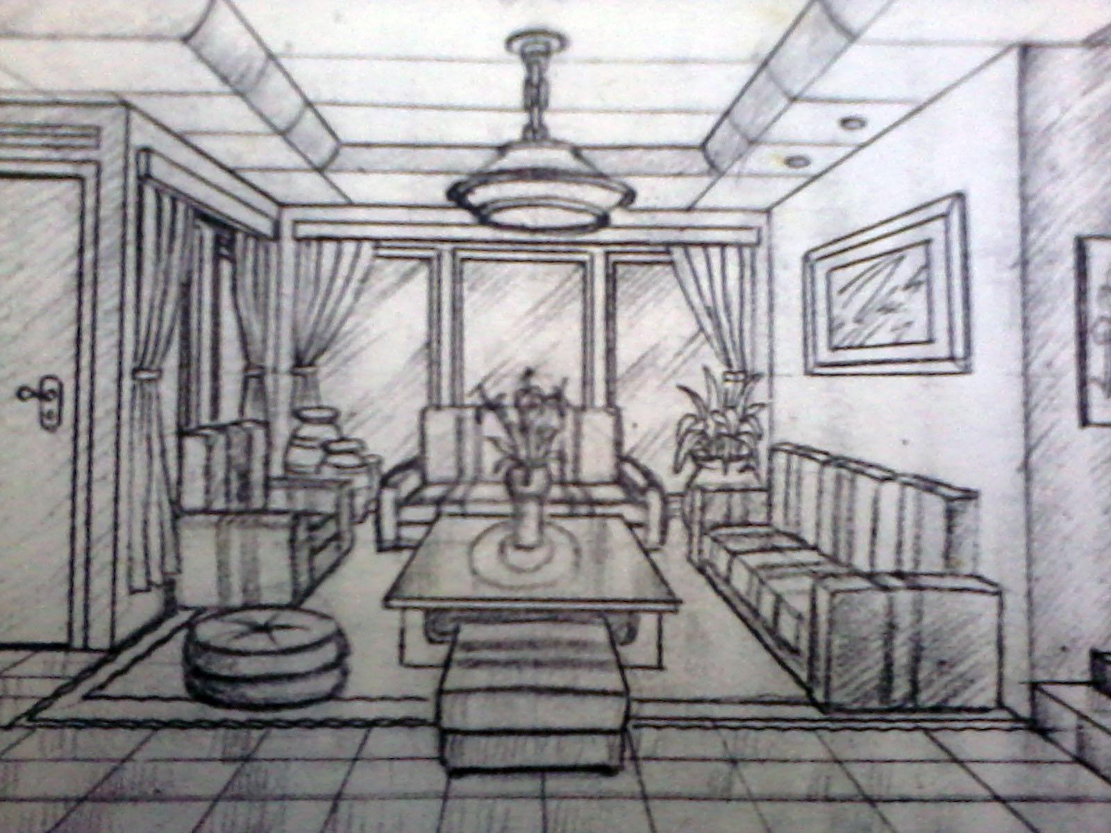 Desain Interior Ruang Tamu Satu Ik Hilang Perspektif
