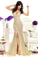 Rochie aurie sirena din material paietat