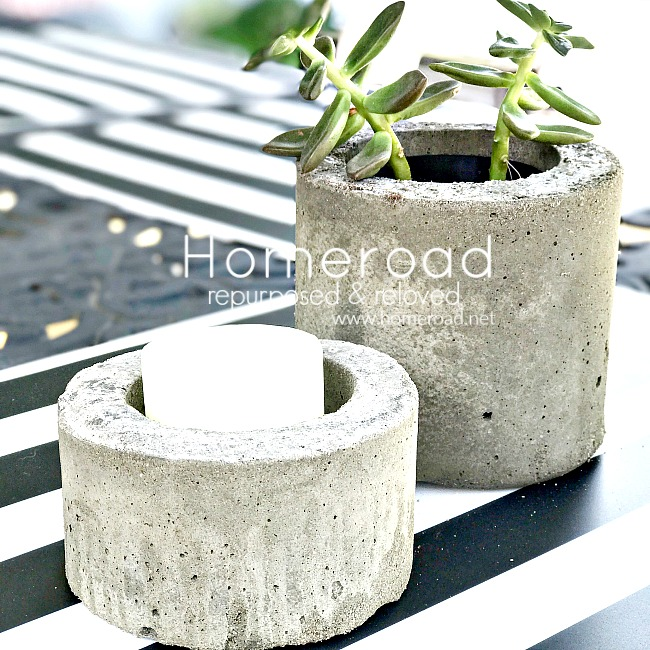 Recycled containers to make cement planter and candle holder