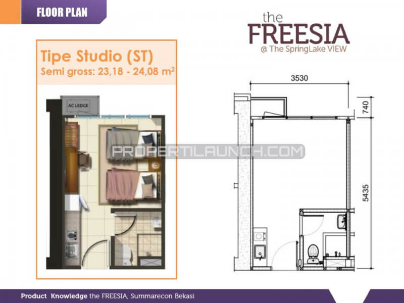 Tipe Studio Apartemen SpringLake View Bekasi - The FREESIA Tower