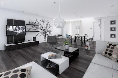 Desain Interior Rumah Minimalis Dominan Warna Hitam Putih