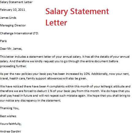 Salary Statement Letter Format Letter Format 2017 – Sample Salary Certificate Letter