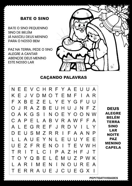 Caça-palavras natalino com palavras da música BATE O SINO.