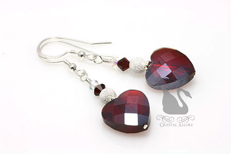 Adoring Love Red Heart Crystal Beaded Earrings (E284-R)