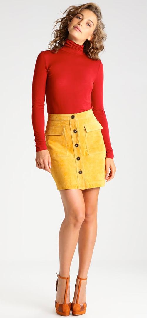 Jupe courte en cuir jaune Pepe Jeans