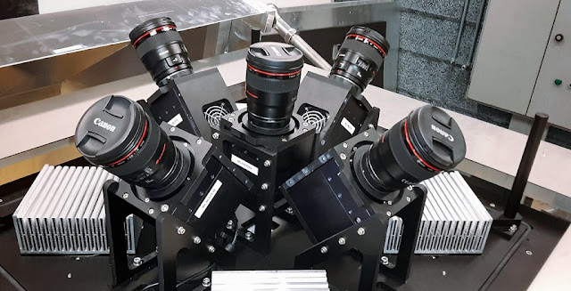 This view shows the five cameras the form the MASCARA system. Together the five wide-angle lenses allow MASCARA to image almost the entire visible sky in one go.  Credit: ESO/G. J. Talens