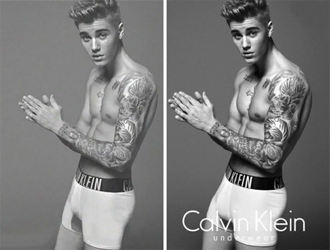 Justin Bieber Calvin Klein Publicity Before and After