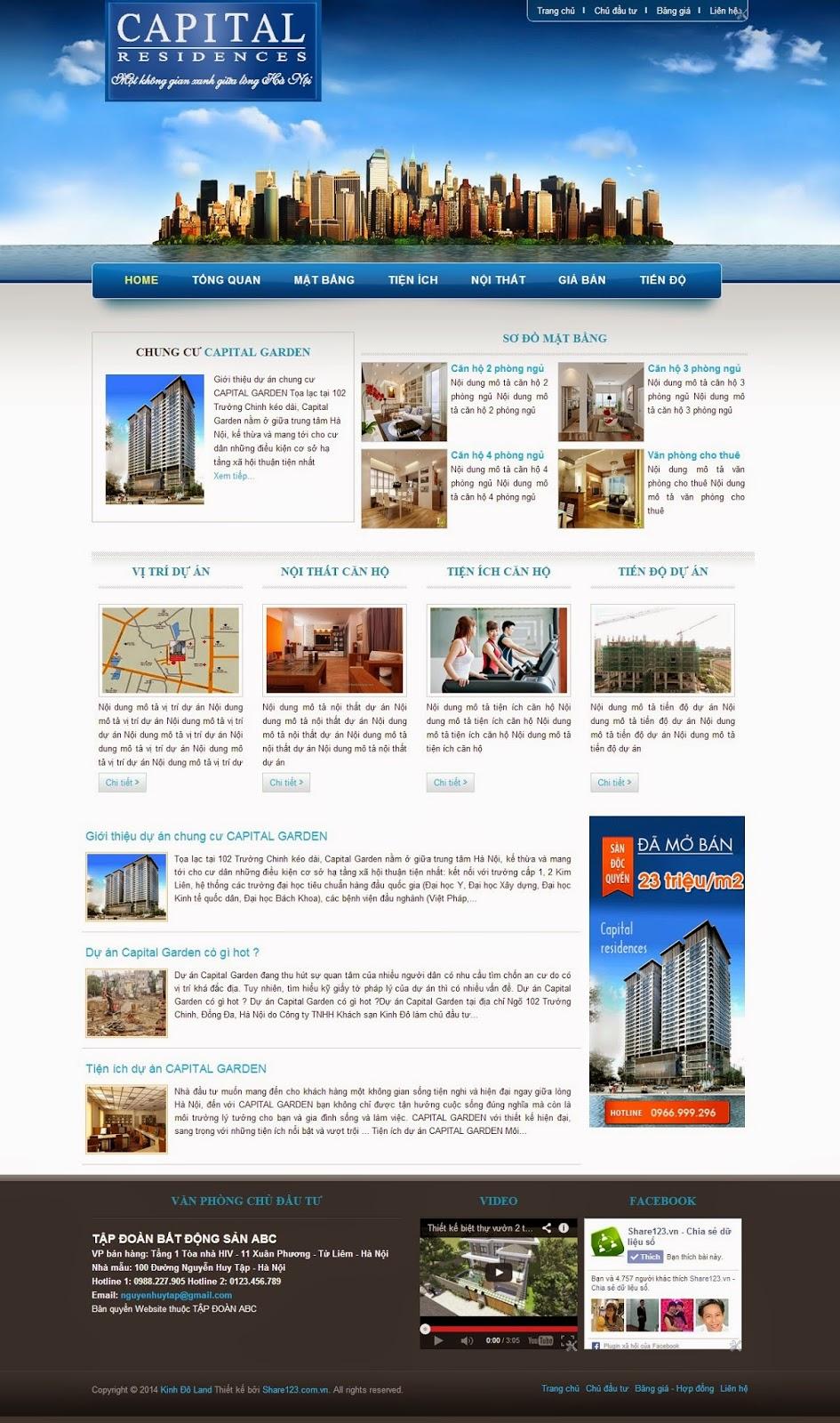 Kinhdoland - Mẫu template blogspot bất động sản đẹp